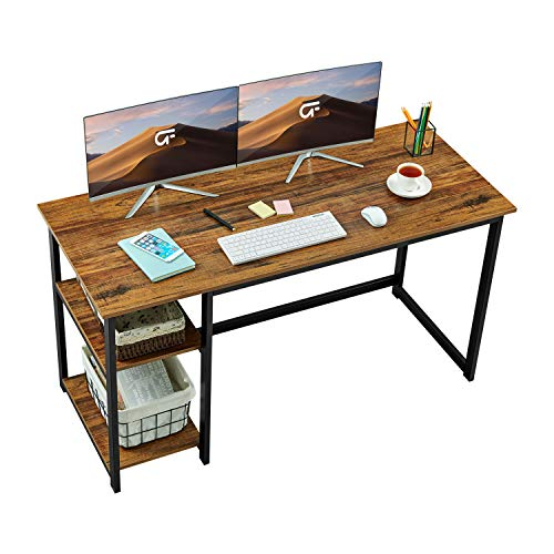 "GreenForest Computer Desk 47"" Writing Table with 2-Tier Reversible Storage Shelves, Home Office PC Workstation Study Gaming Desk, Walnut"