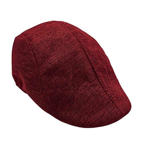 MAWA Gorras de Boina al Aire Libre, Sombreros de ala de Hueso Transpirables para el Sol, para Mujer, para Hombre, Casuales, Boinas Planas, Gorra, Visera de Verano, Sombrero Unisex, Rojo Vino, a1