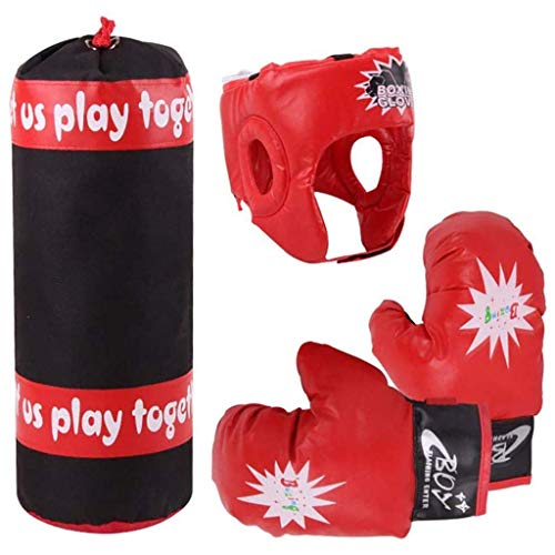 XHLLX Kit Kids Kit de Boxeo para niños, Conjunto de Fitness, Bolsa de perforación para niños, Guante, Fitness Niños Casco