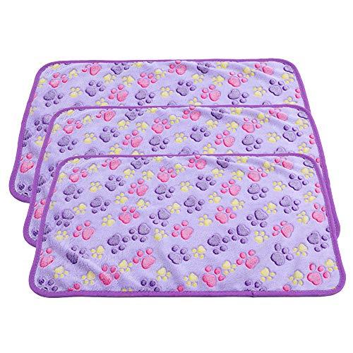 PET SPPTIES Super Soft Fleece Warm Pet Hund Katze Bett Decken, Decke für Welpen Paw Prints Pet Kissen Kleine Hund Katze Bett weiche warme Schlafen Matte,3 x Stück PS016 (104cmx76cm, 3PCS Purple)