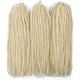 Afro Kinky Twist Crochet Hair Braids Marley Braid Hair 18inch Senegalese Curly Crochet Synthetic Braiding Hair (3Packs,#613)