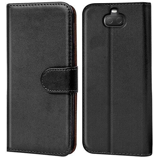 Verco Xperia 10 Hülle, Handyhülle für Sony Xperia 10 Tasche PU Leder Flip Case Brieftasche - Schwarz