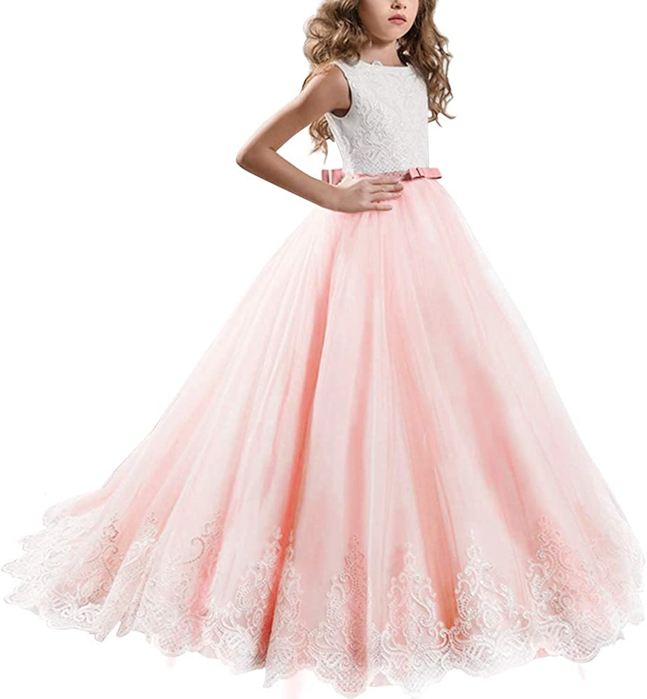 FYMNSI Ranking TOP15 Little Big Limited time trial price Girls Flower Page Applique Princess Dress Lace