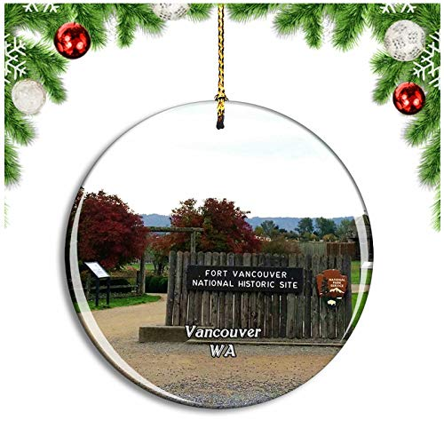 Vancouver Fort Washington USA Christmas Ornament Xmas Tree Decoration Hanging Pendant Travel Souvenir Collection Double Sided Porcelain 2.85 Inch