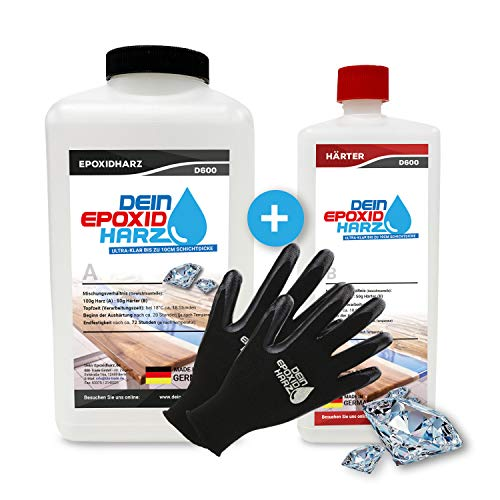 Dickschicht - Epoxidharz mit Härter | 3kg Set | Profi Qualität, ultraklar & geruchsarm | 10cm in einem Guß + Schutzhandschuhe