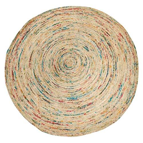 Area tapijten tapijt jute ronde hand geweven Marokkaanse etnische stijl zachte jurk met woonkamer salontafel slaapkamer bed 120 cm in diameter 8 kleuren