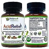 Natural Organic Acid Relief Supplement Antacids Acid Reflux Relief Heartburn Acid Indigestion & GERD Relief Supplement by Bodymune | 100% Vegan Non GMO Gluten Free - 60 Capsules