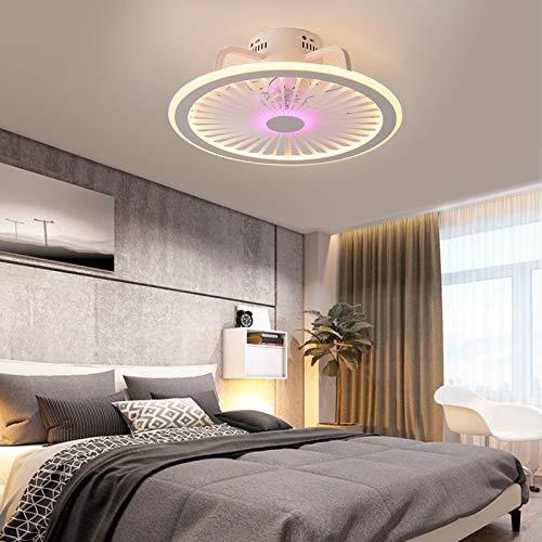 Ventilador de techo con iluminación de 32 W, 32 W, regulable en tres colores, luz nocturna para pasillo, salón, dormitorio, comedor, hotel (rosa)