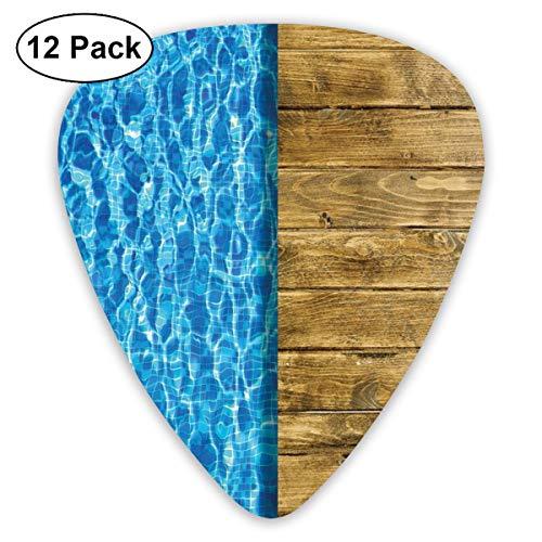 Gitaar Picks12pcs Plectrum (0.46mm-0.96mm), Zomerhuis Lijken Zwembad met Houten Lijken Deck Beeld, Voor Uw Gitaar of Ukulele