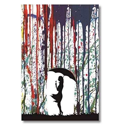 Wand-Kunst-Foto Banksy Farbige Regen Leinwand-Malerei Mädchen Mit Regenschirm Thema Poster Straßen-Graffiti-Kunst-Abbildung HD-Druck Auf Leinwand Für Schlafzimmer, Frameless,30×45cm