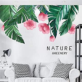 Esmee Plantain Leaf Wall Stickers Leaf Wall Sticker Tropical Leaves Wall Stickers Decal Decor Peel and Stick Self - Adhesive for Living Room Bedroom Vibrant Greenish Bright Color