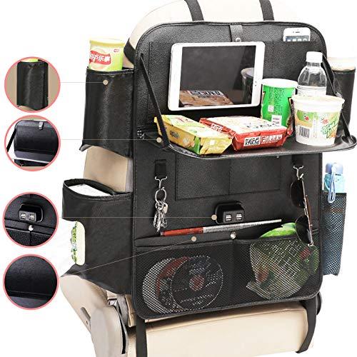 Ruesious Pu Leder Auto Rücksitz Organizer für Kinder mit 4-USB-Ports, iPad-Halter und Multi-Taschen für Flaschen Tissue Box Umbrella Snacks Spielzeug