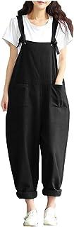 Sobrisah Women's Casual Cotton Jumpsuit Plus Size Baggy Bib Wide Leg Overalls Pants Black Tag XL