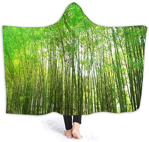 Bernice Winifred Sudadera con capucha | Bata con capucha verde bosque de bambú, textura de fondo, spa, albornoz, sudadera, forro polar, suéter, manta, hombre, mujer, 130 x 150 cm