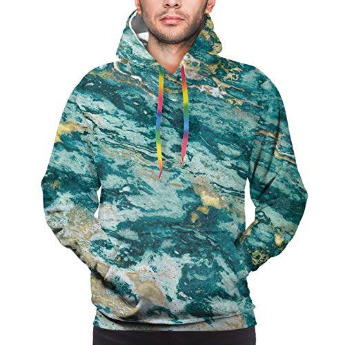 Hip Hop Hoodie with Big Pockets for Fishing Gym Date, Boys Mens Blue Gold Marble Pullover Sweatshirt Drawstring Fitted Sportswear