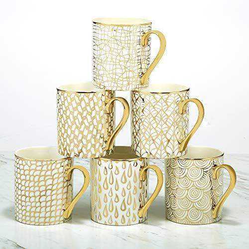 Certified International Mosaic 14 oz. Gold Plated Mugs, Set of 6, 4.75' x 3.25' x 3.75',