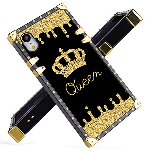 Fiyart iPhone Xr Case Luxury Queen Golden Crown Gold Glitter Square Soft TPU Wrapped Edges and Hard PC Back Stylish Classic Retro Case 6.1 inch