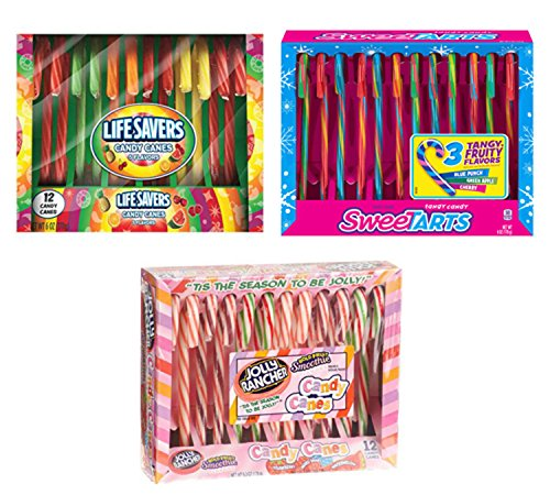 Candy Canes - 3 Pack Sampler, 12 Jolly Ranchers, 12 Sweetarts, 12 Lifesavers