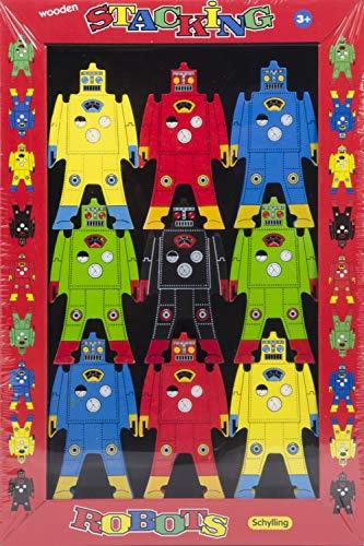 Tobar SC-WSR-Robots empilables en Bois, Schylling, Multicolore