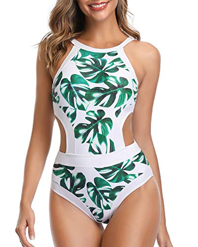 Holipick Women One Piece Swimsuit Cutout High Neck Bathing Suit Floral Printed Bathing Suits White L