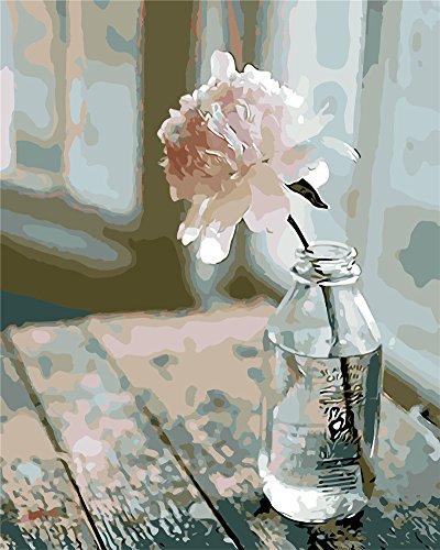 YEESAM ART Neuerscheinungen Malen nach Zahlen für Erwachsene Kinder - Blume in der Flasche 16 * 20 Zoll Leinen Segeltuch - DIY ölgemälde ölfarben Weihnachten Geschenke (Blume, Mit Rahmen)