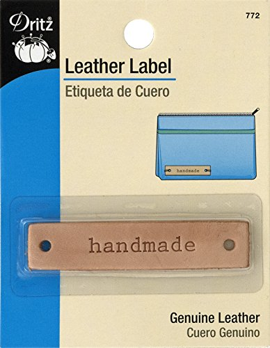 "Dritz 772 Rectangle Leather Label, ""handmade"""