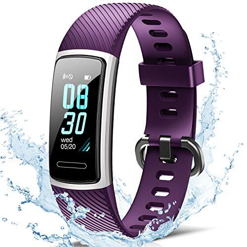 FITFORT Fitness Armband mit Pulsmesser- IP68 Wasserdicht Fitness Tracker Smartwatch, schrittzähler, Schlafüberwachung,Sitzende Erinnerung Aktivitätstracker,Damen Herren Anruf SMS SNS Beachten, Lila