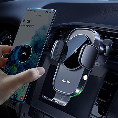 Auckly Qi 15W Cargador Inalámbrico Coche,Wireless Car Charger Soporte con Bloqueo Automático Rápida Salida de Aire para iPhone 12 Pro MAX Mini 11/XS MAX/XR/8/7,Galaxy S20/S10/P20 Note 9/S9 y Otros