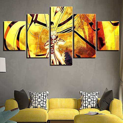 HllHPC (geen lijst) Moderne canvasafbeeldingen met HD-druk, 5-delig, Anime Naruto figuren Scene woonkamer Decoratie voor thuis schilderwerk tegels (40x60 40x80 40x100)