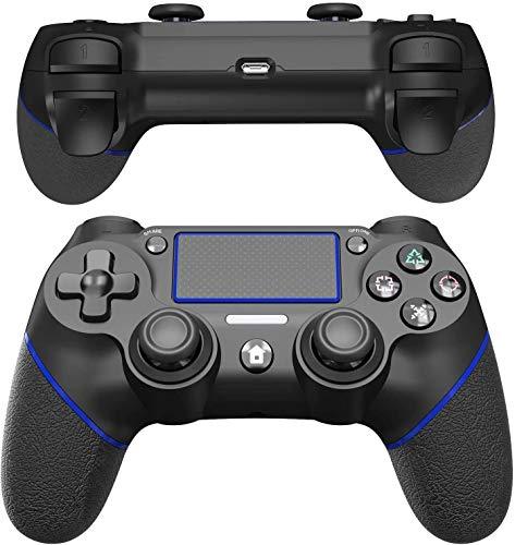 JOYSKY Bluetooth Wireless Controller USB Controller mit Dual Vibration Shock mit Audiofunktion/Touchpanel-Spielbrett/Anti-Rutsch Griff für P4 (Schwarz/Blau)