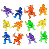 CUZAIL Party Favors Adults & Kids - Ninja Warriors Karate Figures 1.5' - Cupcake Toppers - Bulk Pack of 12 - Assorted Colors - Party Supplies - Goody Bags