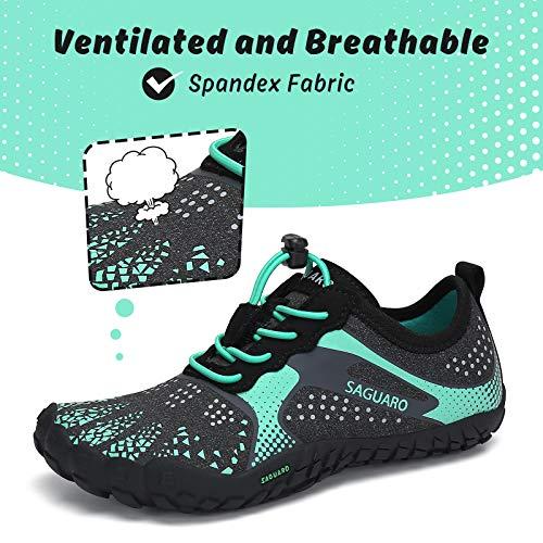Zapatilla Minimalista de Barefoot Trail Running Niño Niña Exterior Interior Zapatillas de Deporte, Verde, Gr.36