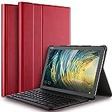 IVSO Tastatur Hülle für Huawei MediaPad M5 Lite 10, [QWERTZ Deutsches], Ultradünn Ständer Schutzhülle mit magnetisch abnehmbar Wireless Tastatur für Huawei MediaPad M5 Lite 10.1 Zoll 2018, Rot