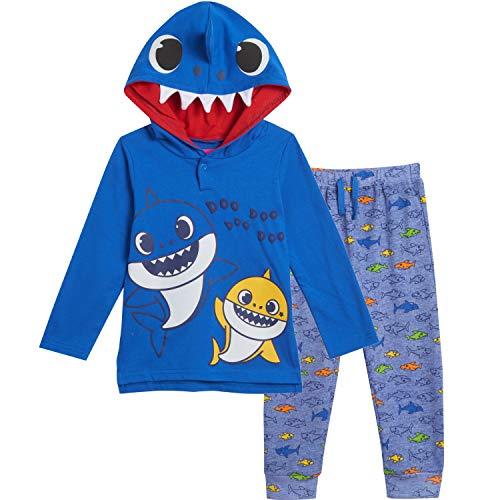 Pinkfong Conjunto de fantasia de tubarão com capuz e calça jogger, Azul, 2T