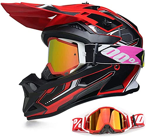 Motorradhelm Motocross Helm,Fullface Crosshelm mit Brille Visier Offroad Downhill Schwarz Rot Endurohelme für Kinder Erwachsene Mountain Bike Dirt Bike MTB BMX ATV Quad MX (M)