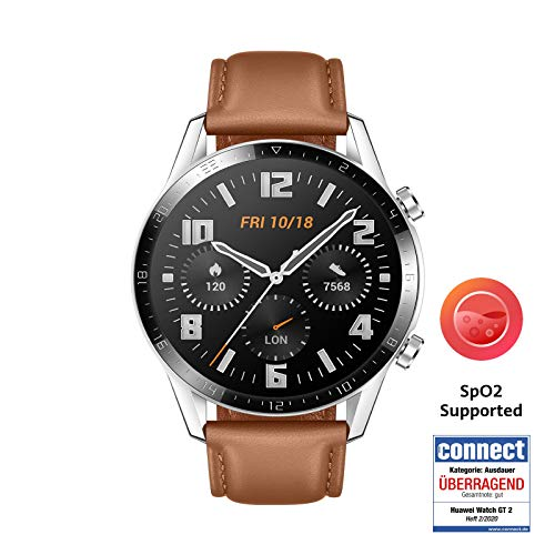 HUAWEI Watch GT 2 Smartwatch (46mm Full-Color-AMOLED, SpO2-Monitoring, Herzfrequenzmessung, Musik Wiedergabe&Bluetooth Telefonie, 5ATM wasserdicht, GPS) Pebble Brown [Exklusiv+5 EUR Amazon Gutschein]