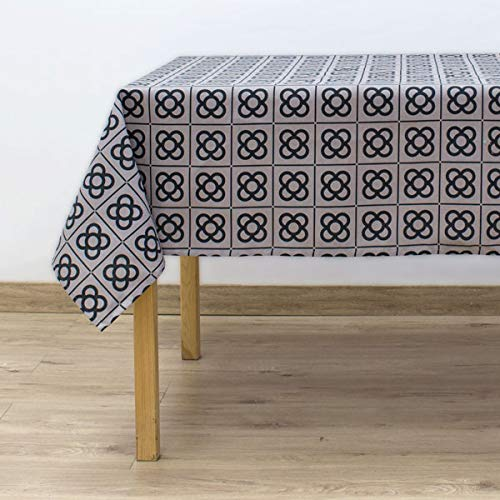 COTTON REUS Mantelería 100% algodón Mod Panot BCN Color Gris. Disponible en Las Medidas de 100 x 150 cm, 150 x 150 cm, 150 x 200 cm y 150 x 250 cm.