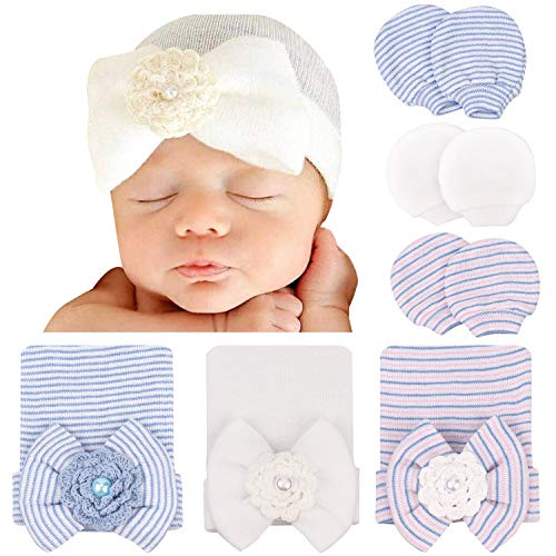 DRESHOW Gorros para Bebés Recién Nacidos Mitones para Niñas Conjunto de Gorro de Hospital Gorros Sombreros para Bebés con Lazo Guantes de Arañazos para Bebés