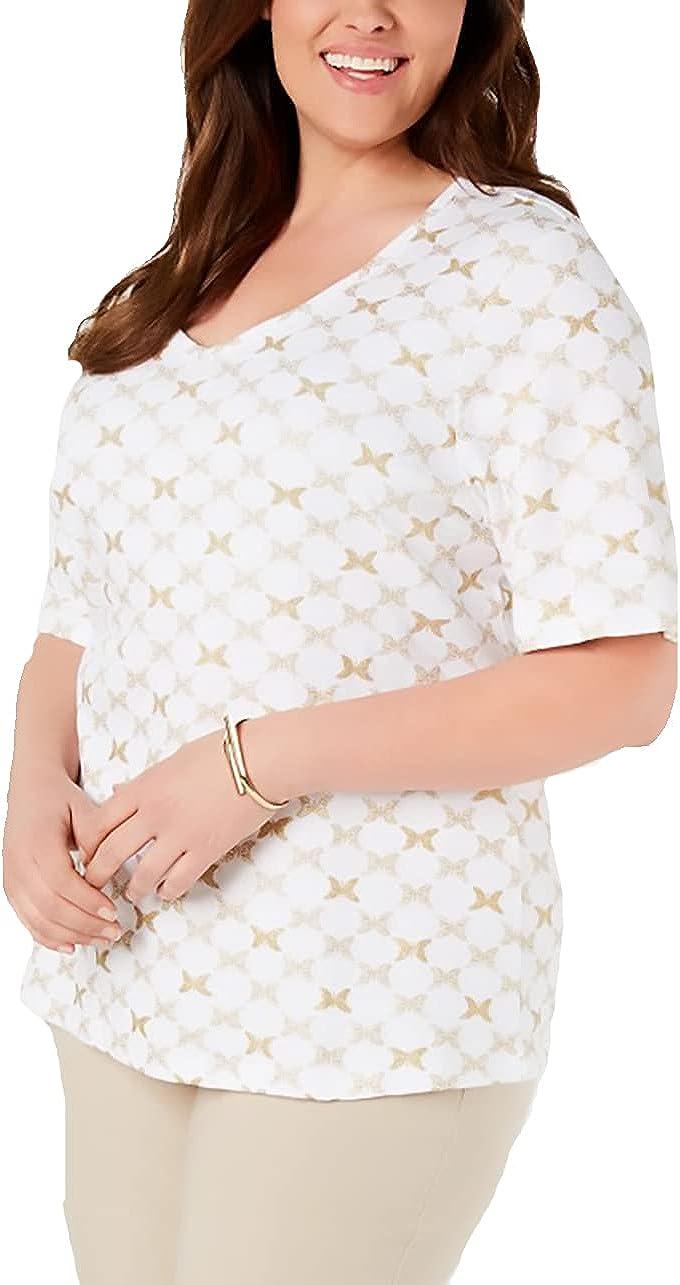 Karen Scott Womens Plus Size Printed T-Shirt,Bright White, 1X