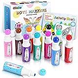 Ohuhu Punkt-Marker-Set, 12 Farben Bingomarker (40ml) mit 30 Seiten Aktivitätsbuch, ungiftige Bingo-Marker auf Wasserbasis, Punkt-Kunst-Marker(9mm)