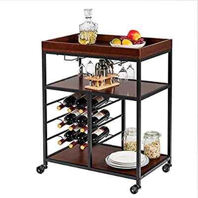 Giantex 3-Tier Kitchen Island Cart Rolling Trolley Industrial Style Serving Cart Utility Cart Wood Kitchen Stand with Glasses Holder and 9 Wine Bottles Rack Metal Frame and Castors by Giantex