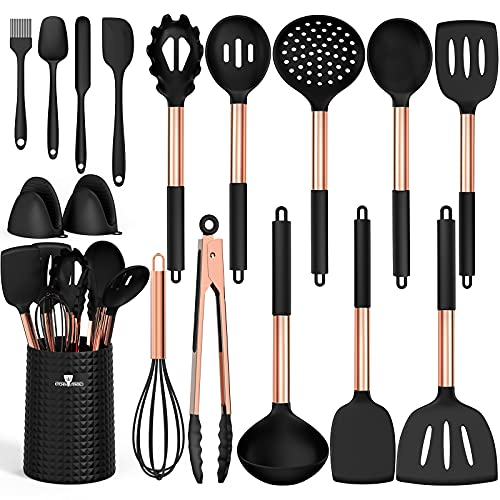 Silicone Cooking Utensils Kitchen Utensil Set - Fungun 16 pcs Kitchen Gadgets Tools Set with Holder-Copper Stainless Steel Handles, 446°F Heat Resistant Spatula Set for Non-Stick Cookware(Black)