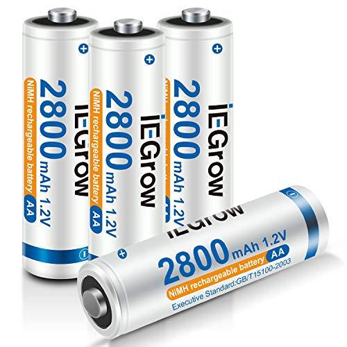 iEGrow Batterie AA Ricaricabili ad Alta Capacità 2800mAh Ni-MH, Bassa Autoscarica, confezione da 4 Piles AA da 1.2V