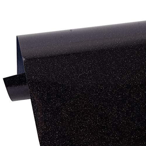 HOHOFILM Black Glitter Heat Transfer Vinyl Iron op HTV Vinyl Sheet Printbare folie voor T-shirt, kleding en andere stoffen 50cmx30cm