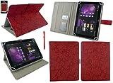 Emartbuy® Odys Lux 10 Tablet PC 10.1 Zoll Zoll Universalbereich Vintage Floral Rot Multi Winkel Folio Executive Hülle Cover Wallet Hülle Schutzhülle mit Kartensteckplätze + Rot Eingabestift