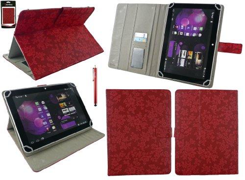 Emartbuy® Denver TAQ-10122 10.1 Zoll Tablet Universalbereich Vintage Floral Rot Multi Winkel Folio Executive Case Cover Wallet Hülle Schutzhülle mit Kartensteckplätze + Rot Eingabestift