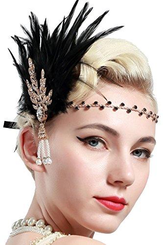 BABEYOND Damen Feder Stirnband 1920s Stil Flapper Art Deco Inspiriert von Great Gatsby Blatt Blinkende Kristalle Haarband (Gold)