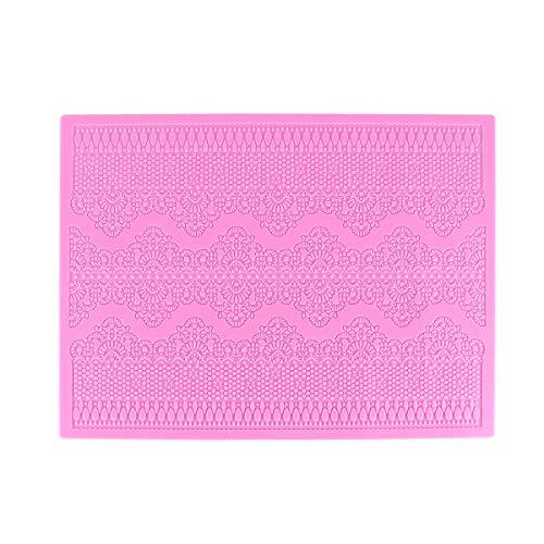 OUNONA Kuchen Form Silikonform Prgung Kuchen Matte Texturiertes Spitze Silikon Kuchen, Pad (Pink)