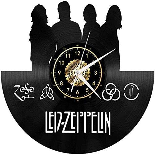 WTTA Orologio da Parete in Vinile Creativo Orologio da Parete in Vinile retrò LED Zeppelin Band Clock Decorazione Regalo with_LED