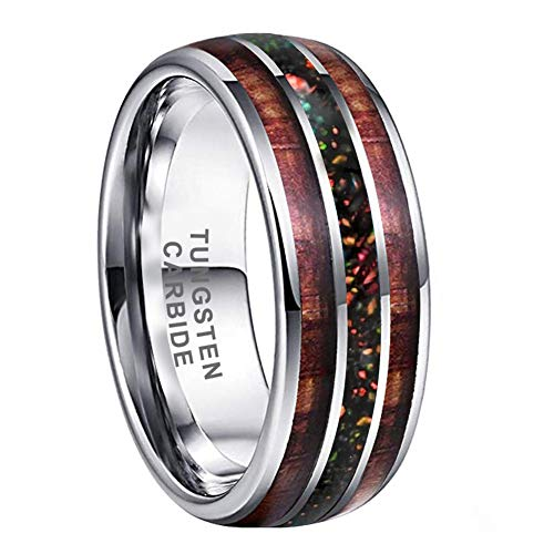 iTungsten 8mm Tungsten Rings for Men Women Wedding Bands Galaxy Opal Store Koa Wood Inlay Domed Polished Shiny Comfort Fit